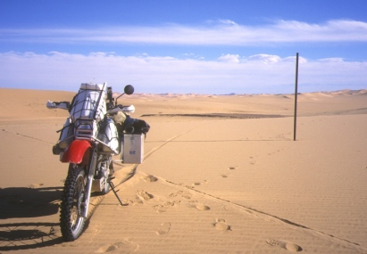 Lone marker post on the dune crossing