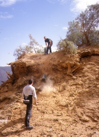 Over the dunes and down the Graveyard piste - we recover a fuel cache from a tree mound