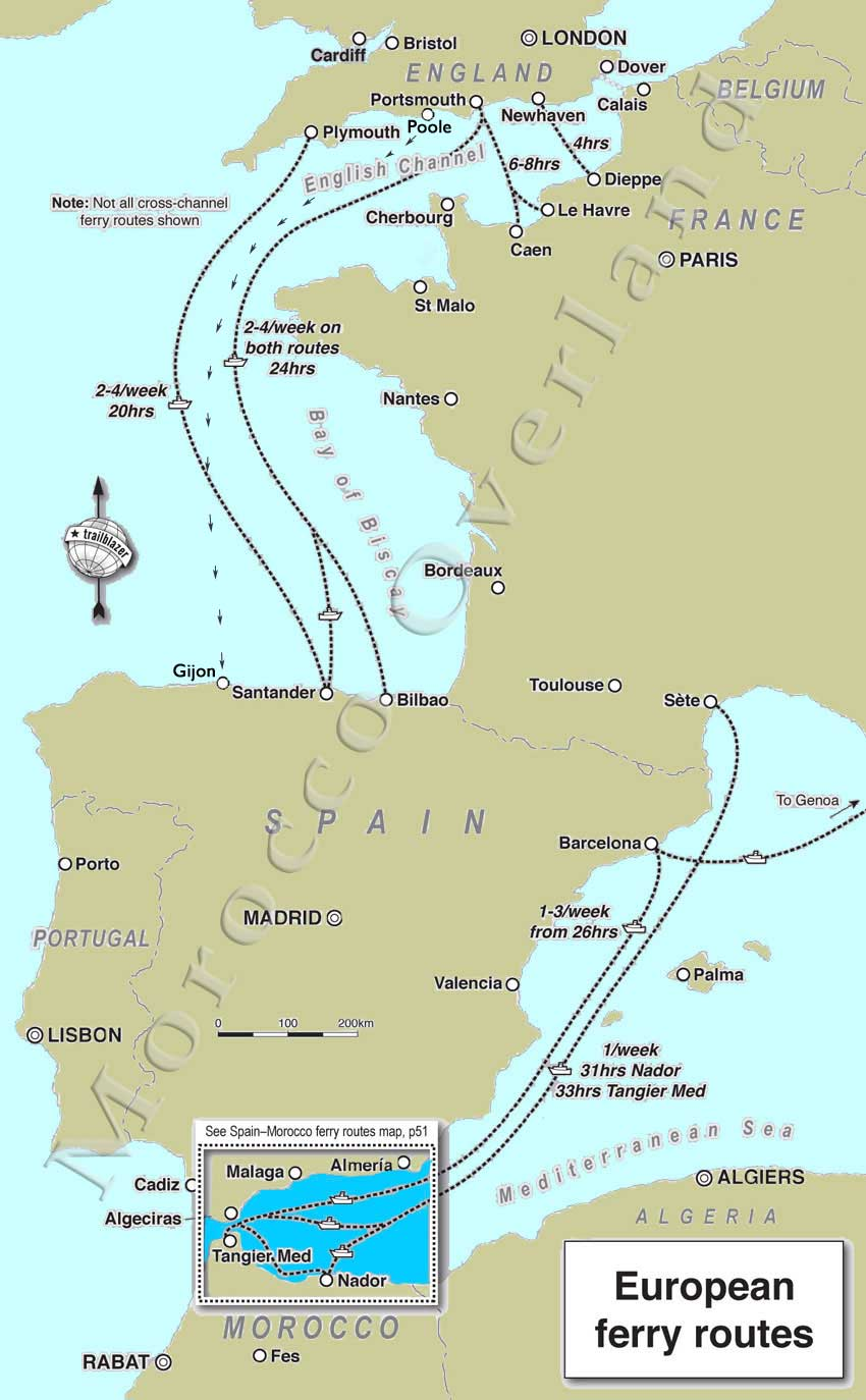ferry routes to europe map Morocco Overland European ferry routes   Sahara Overland