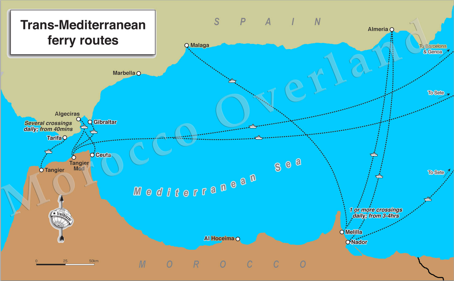 Map Of Spain Gibraltar And Morocco.Morocco Port Maps Sahara Overland